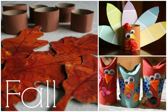 fall leaf nakin rings, paint chip turkey and owl craft made from toilet paper tubes