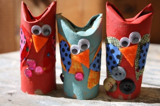 toilet roll owls with fabric scraps