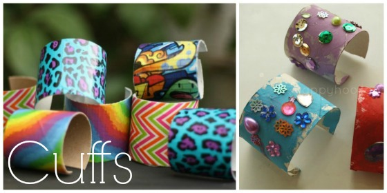 Toilet roll cuffs and cardboard roll bracelets