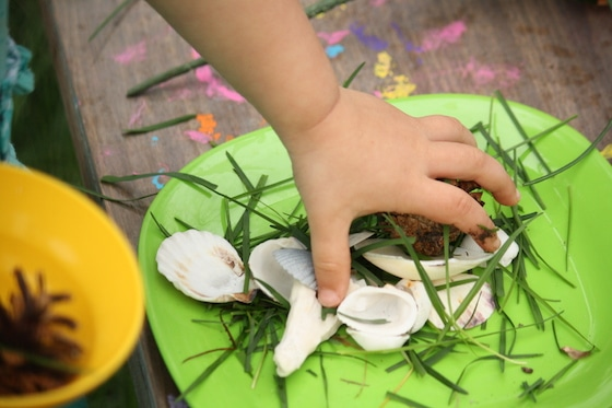 toddler tea party with items from nature