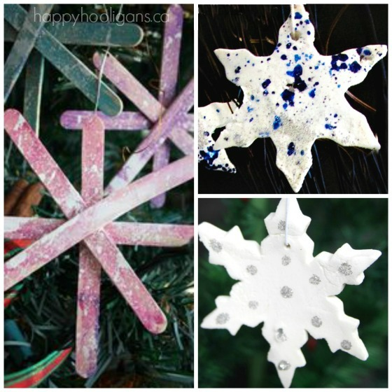 3 homemade snowflake ornaments