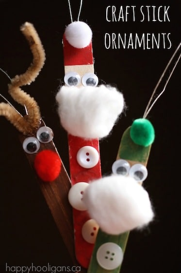 Santa, elf and reindeer ornaments made with popsicle sticks