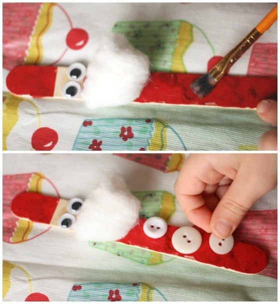 step photos of child making santa ornament