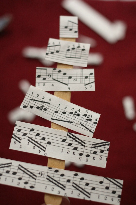 Tree ornament with sheet music and craft sticks