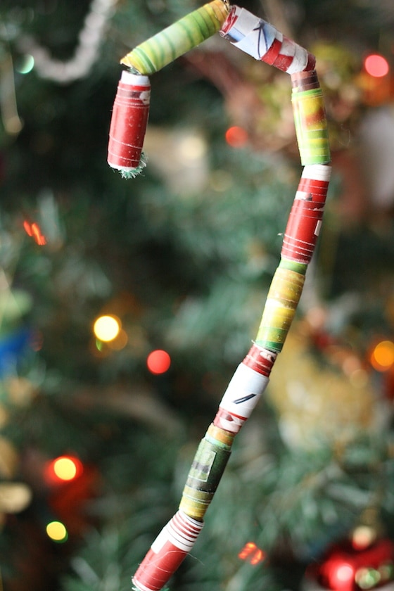 Paper Bead Candy Cane ornament