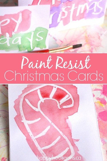 Paint Resist Christmas Cards