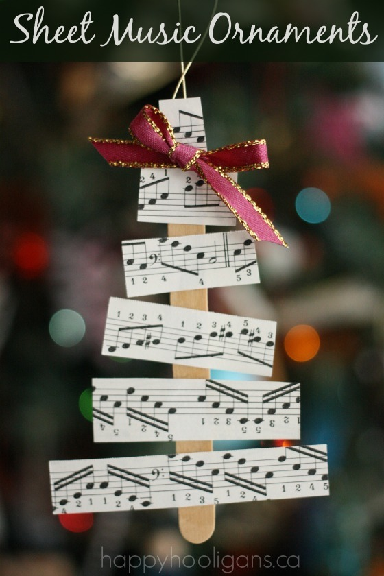 Christmas Tree Sheet Music Ornaments - Happy Hooligans