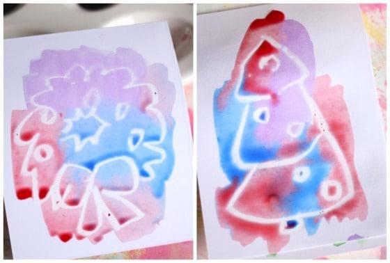 Crayon Resist Christmas Cards