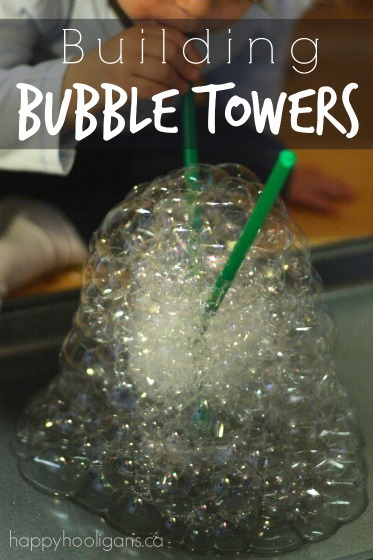 Bubble Towers bubble blowing activity for toddlers