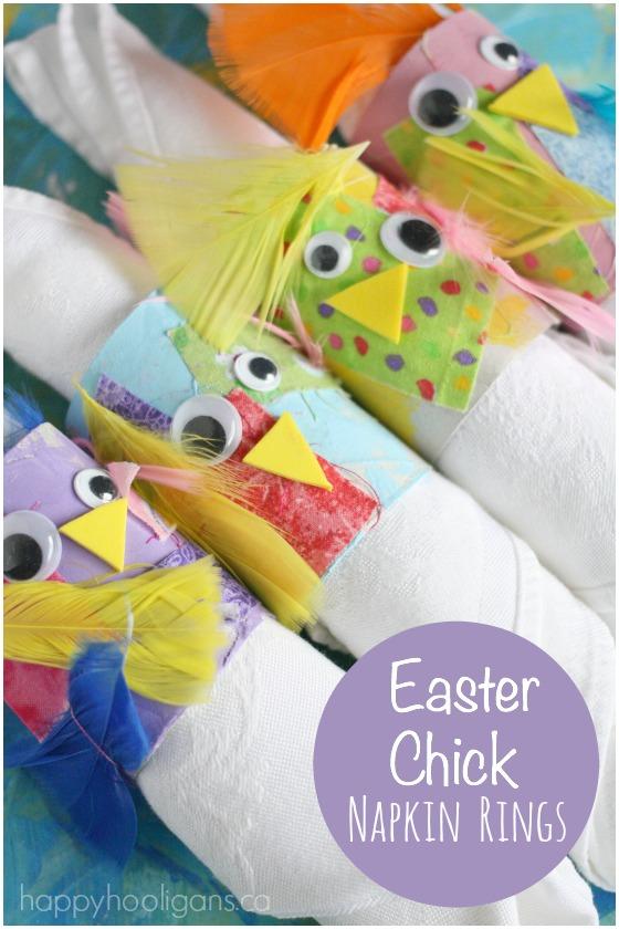 Easter Chick Napkin Rings for Kids - Happy Hooligans