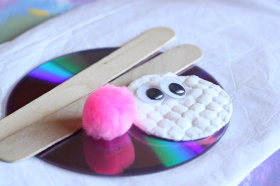 cd craft sticks pom pom cotton pad and googly eyes