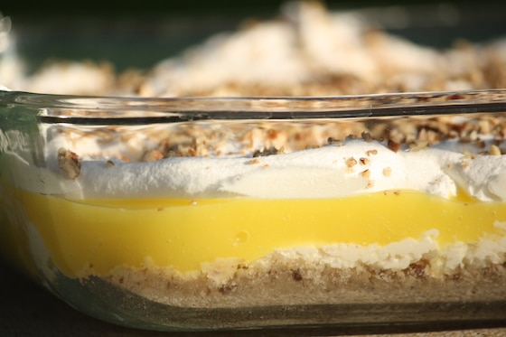 layered lemon delight in baking dish