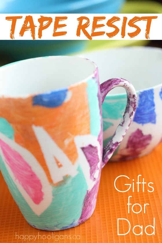 Easy Homemade Father's Day Gift - Tape Resist Mug and Bowl