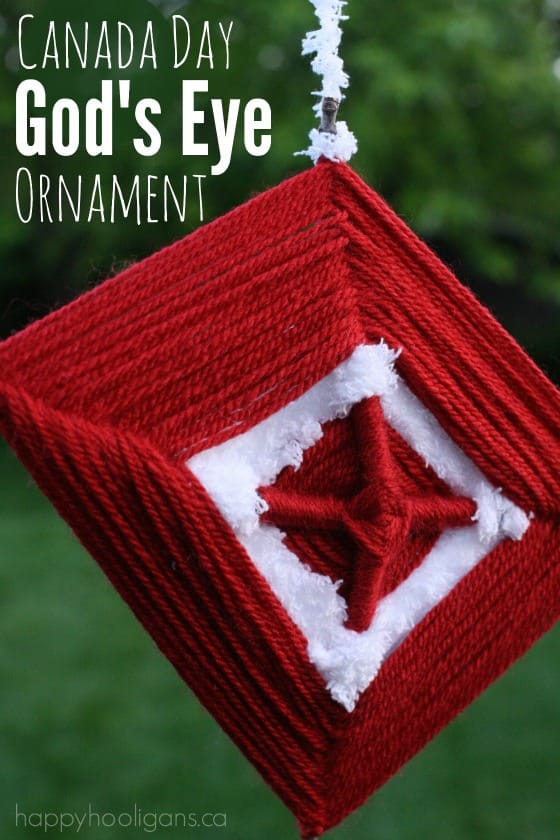Canada Day God's Eye Ornament