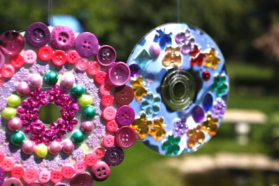 2 sun catcher crafts made from old cds