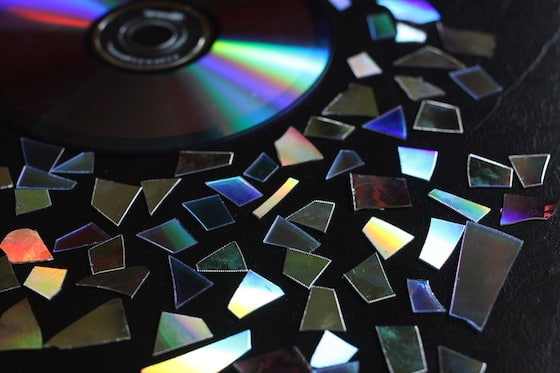 cd cut into small mosaic pieces