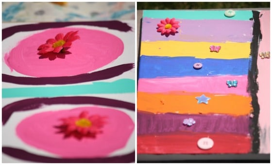 painted canvases at tween art party
