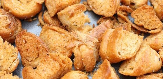 homemade croutons made with croissants
