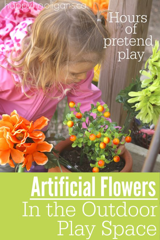 Adding artificial flowers to your outdoor play space- Happy Hooligans