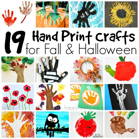 Handprint Crafts for Fall and Halloween