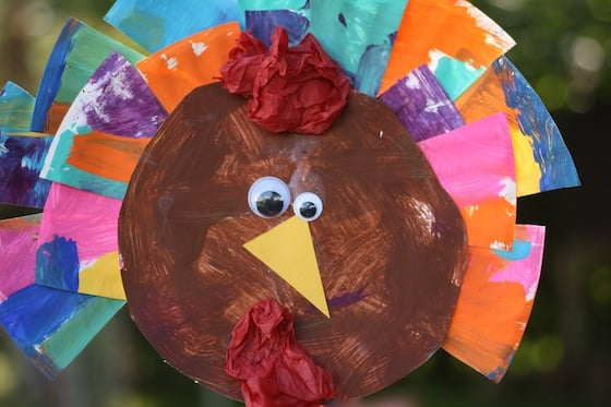 finished paper plate turkey