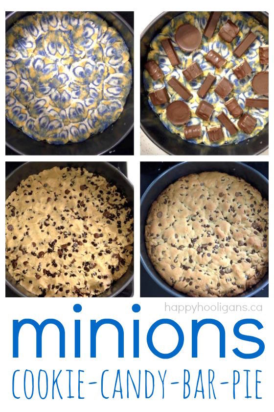 Minions Cookie Candy Bar Pie - a terrific alternative to birthday cake and a great way to use up leftover Halloween candy - Happy Hooligans