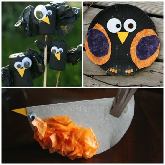 Crow crafts and robin craft for kids