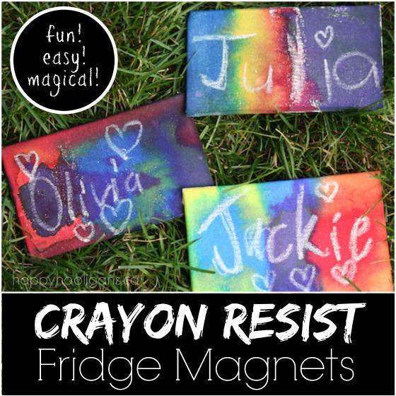 crayon resist fridge magnets - Happy Hooligans