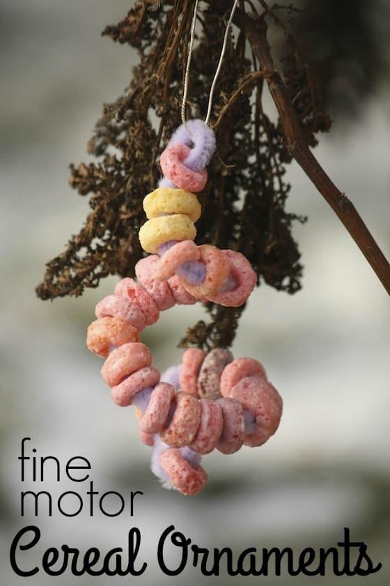 Fruit Loops bird feeder ornament in garden