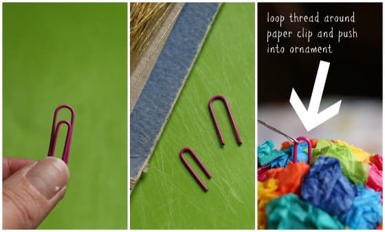 make an ornament hanger out of a paper clip