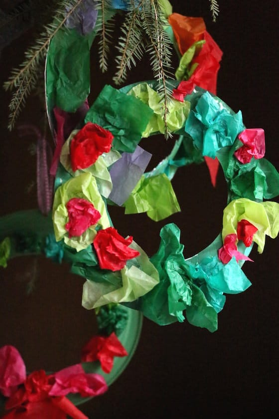 tissue paper paper plate wreath
