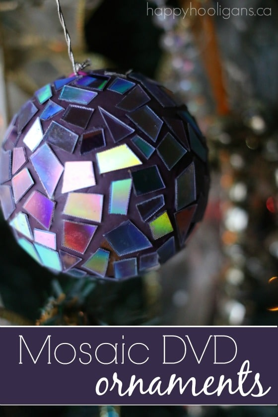 Mosaic DVD Ornaments - Crafting with old cds and dvds - Happy Hooligans