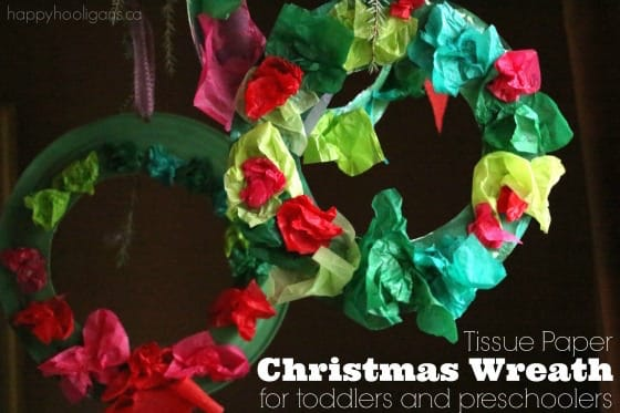 Tissue Paper Christmas Wreath for Kids - Happy Hooligans