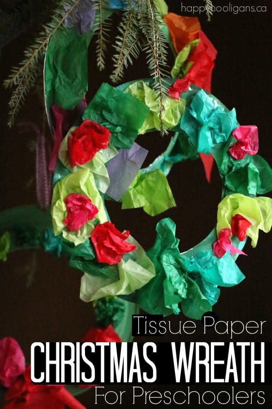 Tissue Paper Christmas Wreath for Preschoolers and Toddlers to Make - Happy Hooligans