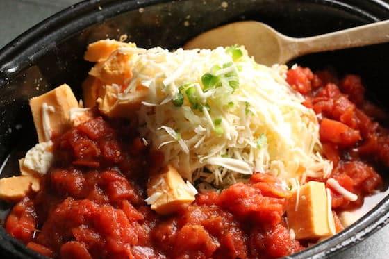 ingredients for warm cheese dip in roasting pan