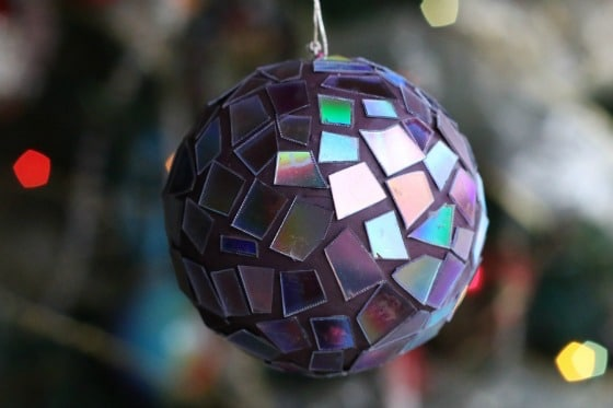 mosaic ornament made from old dvds