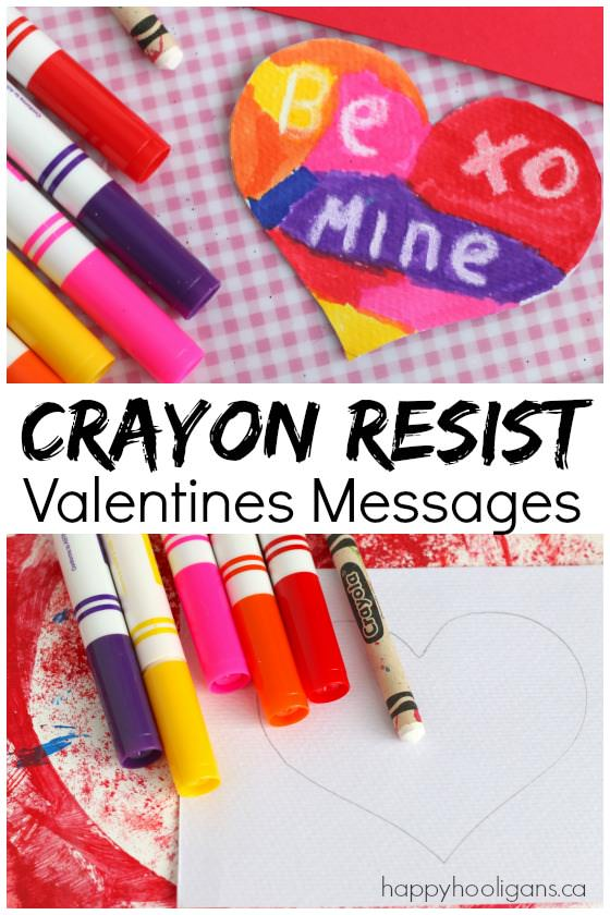 Crayon Resist Valentines Messages - Kids can use this classic art technique to make and decorate their homemade Valentines cards - Happy Hooligans