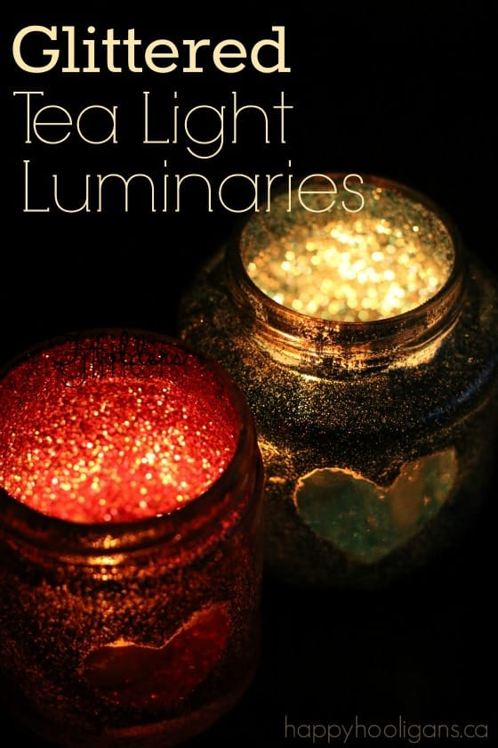 Glittered Tea Light Luminaries - an easy Valentines craft for Kids to Make - Happy Hooligans