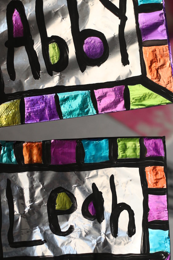 Sharpie and tin foil art project for kids
