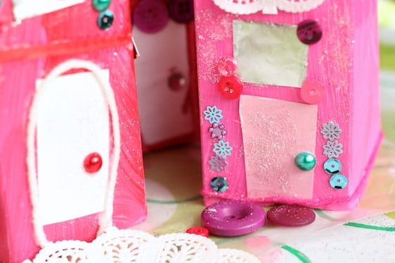 Milk cartons decorated as valentines houses