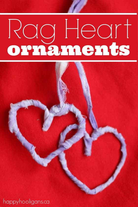 Rag Heart Ornaments - simple, sweet Valentines ornaments made with pipe cleaners and fabric strips - Happy Hooligans
