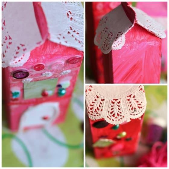 doily roof on valentines milk carton house