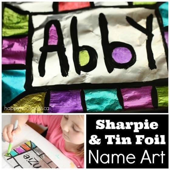 sharpie-tin foil name art