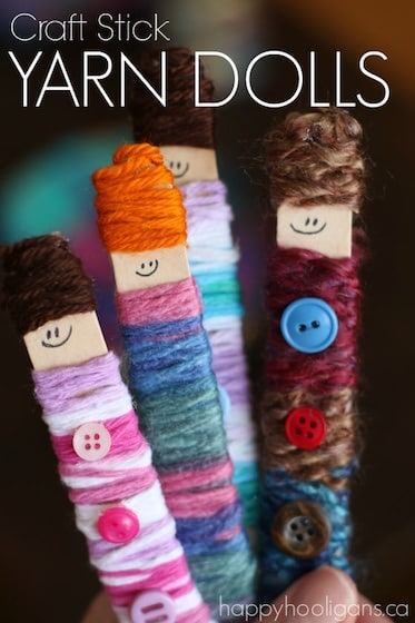 Craft Stick Yarn Dolls - Great fine motor craft for kids with just craft sticks, yarn and buttons