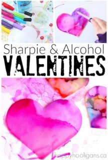 Sharpie and Rubbing Alcohol Valentines Experiment & Art Activity - Happy Hooligans