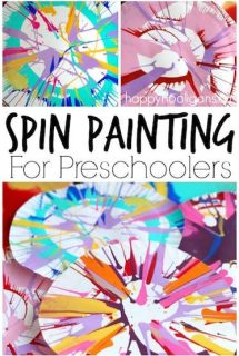 Spin Painting for Kids - an easy, stunning art process using a simple kitchen gadget - Happy Hooligans
