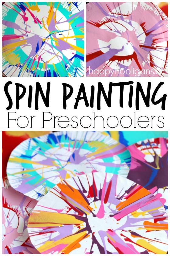 Spin Painting for Preschoolers - an easy, stunning art process for kids using a simple kitchen gadget - Happy Hooligans