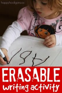 Homemade eraseable writing activity for preschoolers and toddlers - Happy Hooligans