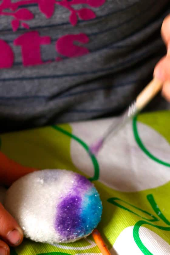 painting borax crystals with liquid watercolours