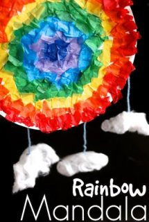 Paper Plater and Tissue Paper Rainbow Mandala - Happy Hooligans